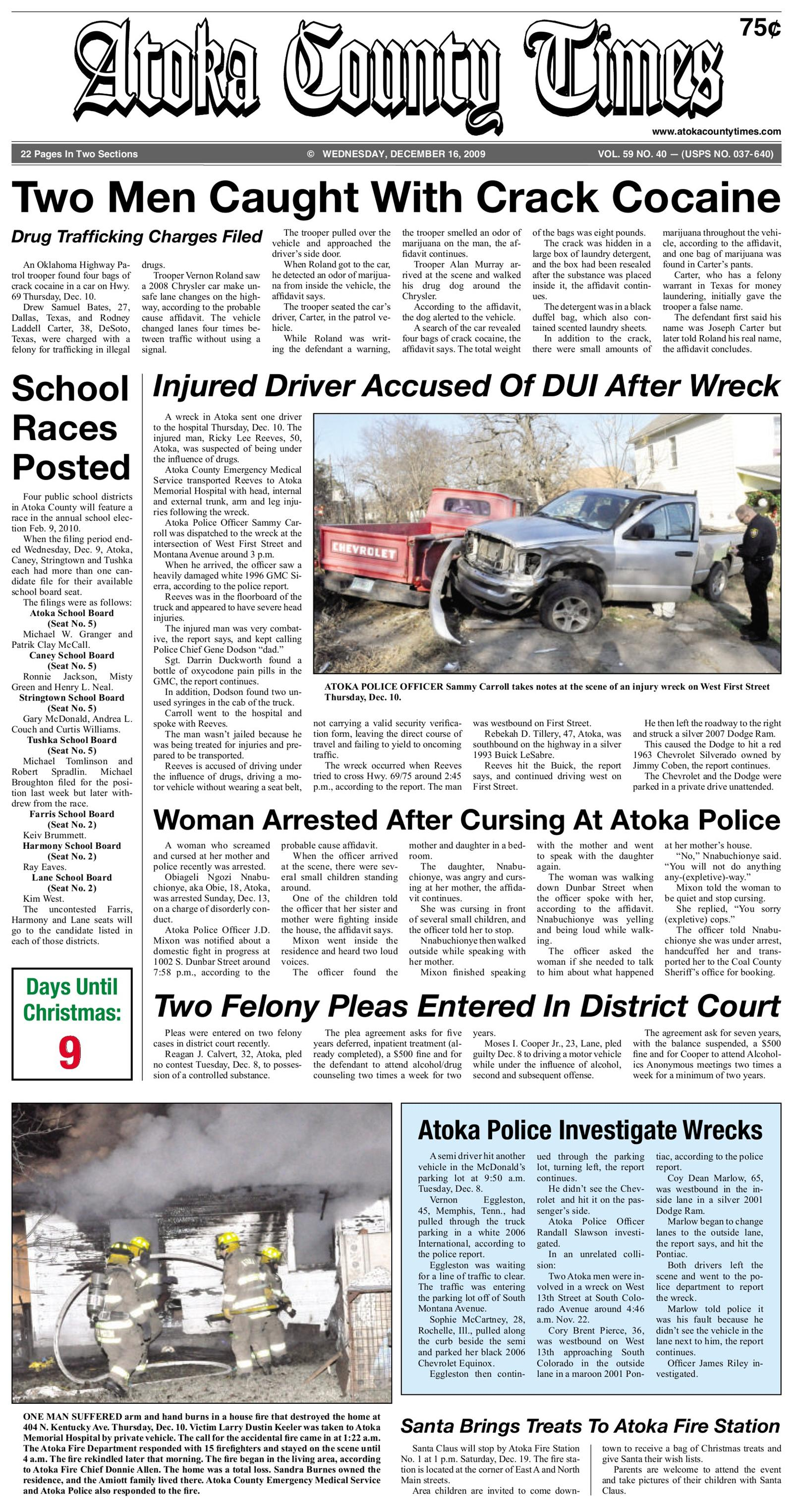 Atoka County Times December 16, 2009 To get started First tap on