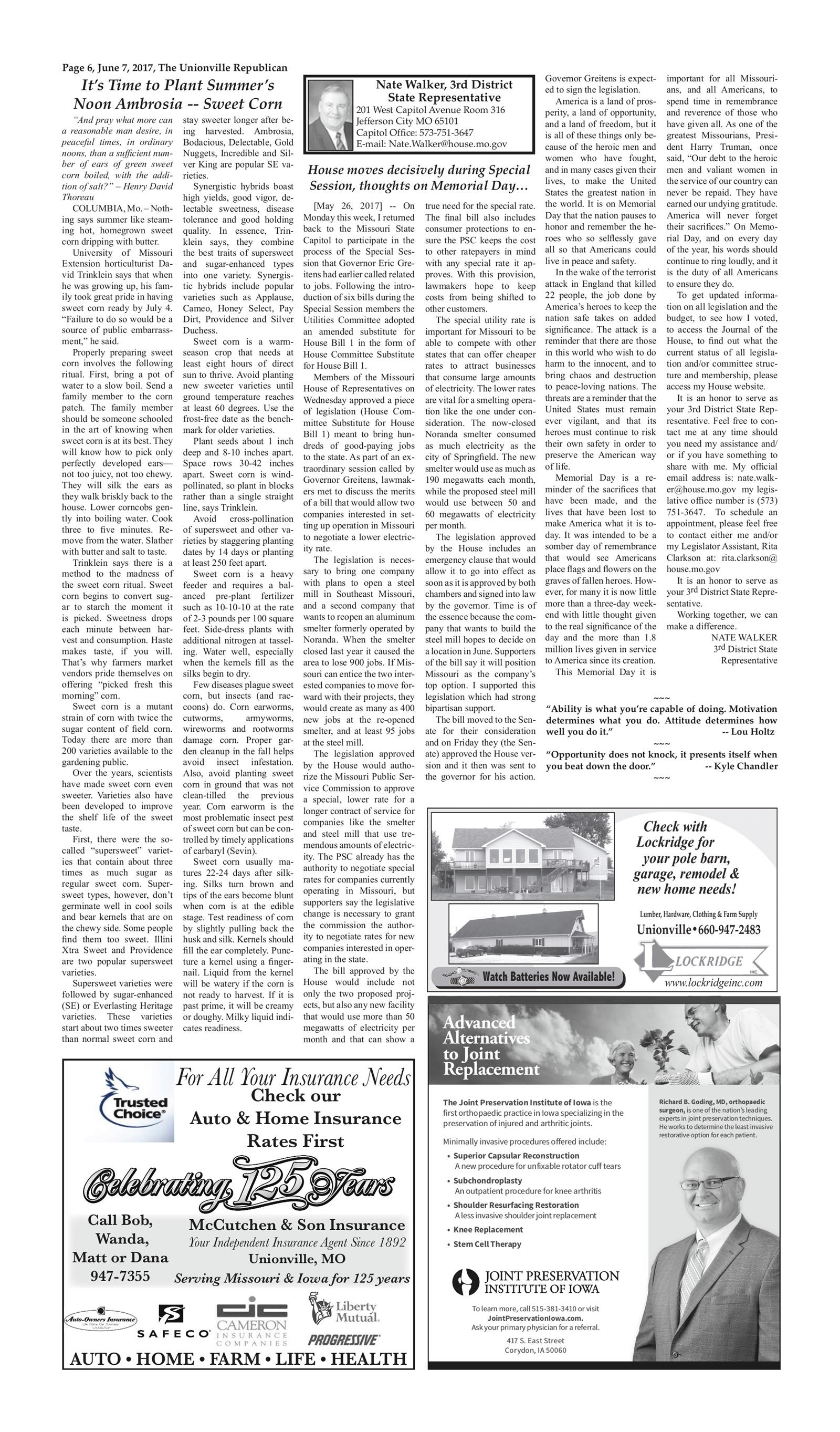 Unionville Republican June 7, 2017 To get started First tap on