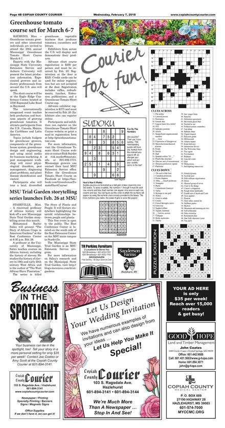 Copiah County Courier February 7 2018 To Get Started First Tap On