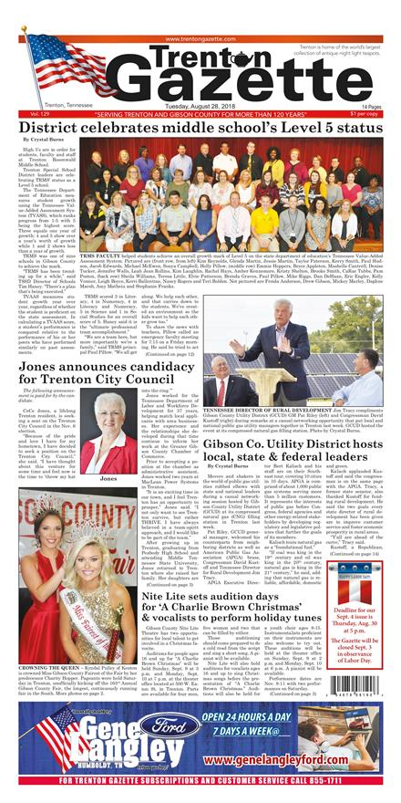 The Trenton Herald Gazette August 28, 2018 To get started First tap