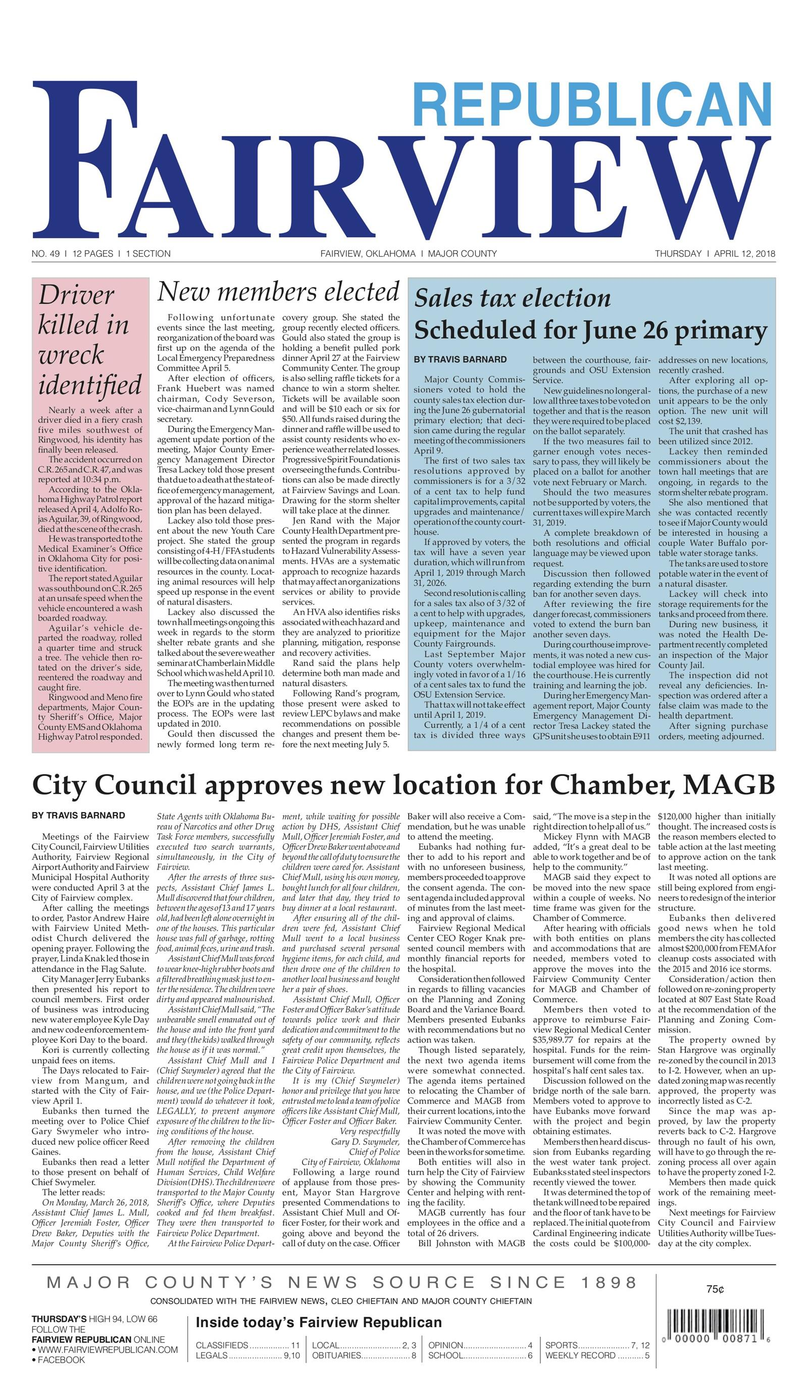 Fairview Republican April 12, 2018 To get started First tap on any