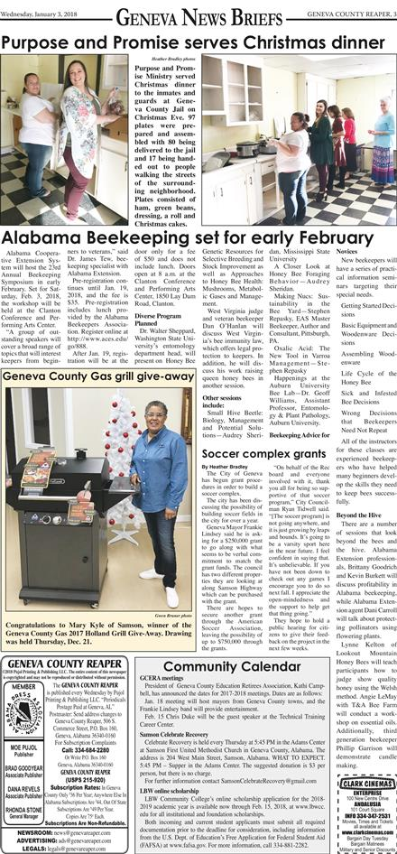 Geneva County Reaper January 3, 2018 To get started First