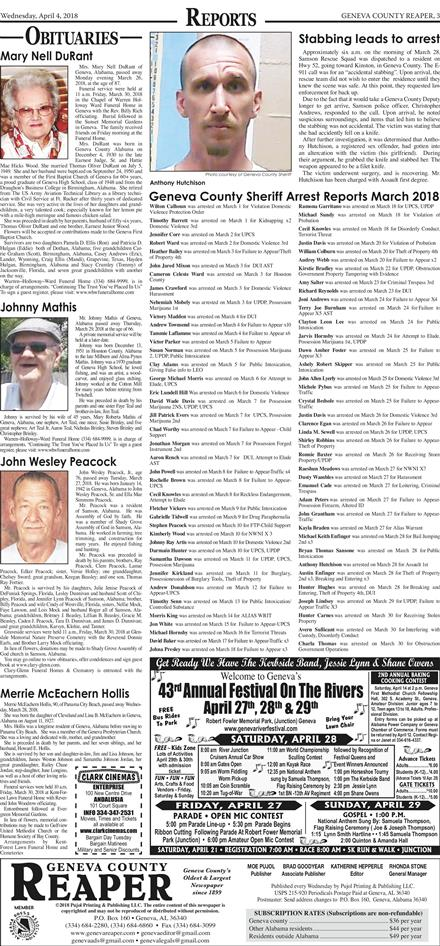 Geneva County Reaper April 4, 2018 To get started First tap